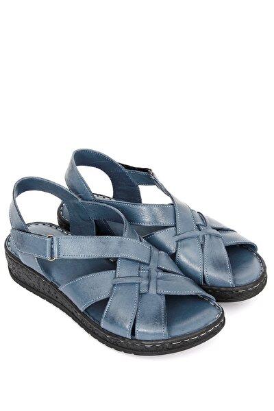 Hakiki Deri Mavi Antik Kadın Sandalet 45018