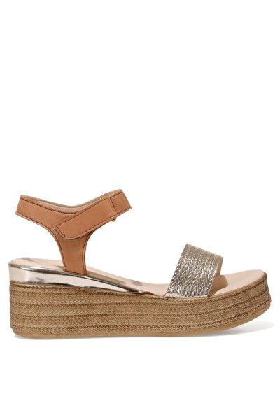 GARA Altın Kadın Dolgu Topuklu Sandalet 100526798