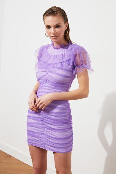 Lila Drape Detaylı Tül Elbise TPRSS21EL1842