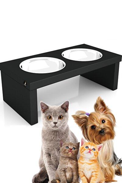 Çelik Kaseli Çiftli Ahşap Kedi/köpek Mama Kabı Kg-3006