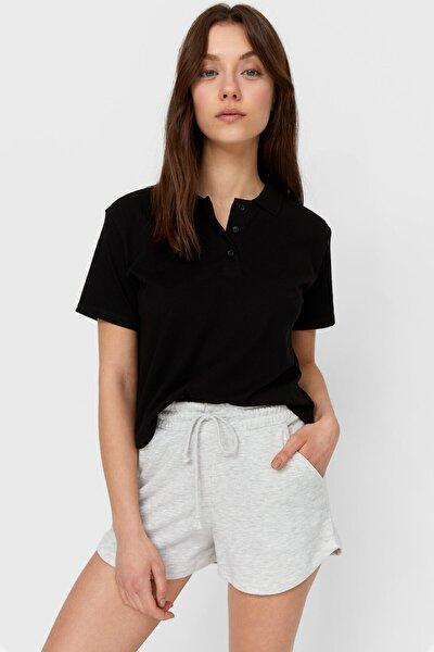Kadın Siyah Basic Crop Fit Polo Yaka T-shirt