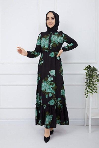 Büyük Güldesenli Viskon Kumaş Elbise
