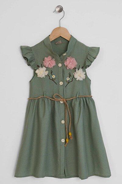 Kız Çocuk Yeşil Nakışlı Çiçek Detaylı Elbise