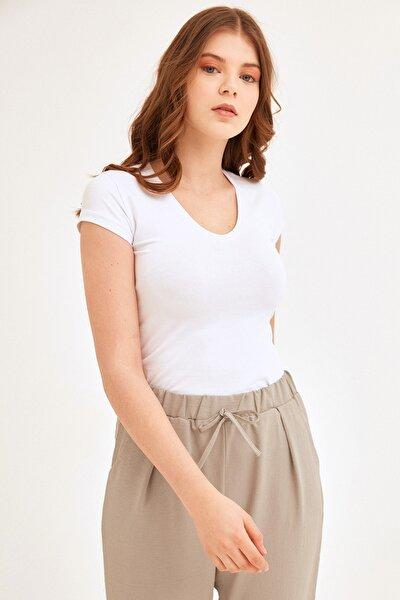 Kadın V Yaka Basic Tshirt