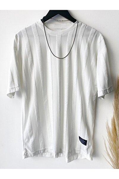 Erkek Beyaz Çizgi Detaylı T-Shirt