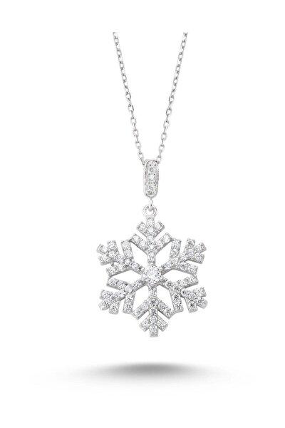 Kadın 925 Ayar Gümüş Beyaz Swarovski Taşlı Kar Tanesi Kolye Krtnskly2011-10