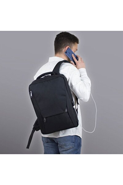 Unisex Active Usb Şarj Girişli Slim Notebook Sırt Çantası Siyah Mv0096