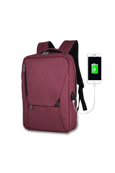 Unisex Active Usb Şarj Girişli Slim Notebook Sırt Çantası Bordo Mv0096