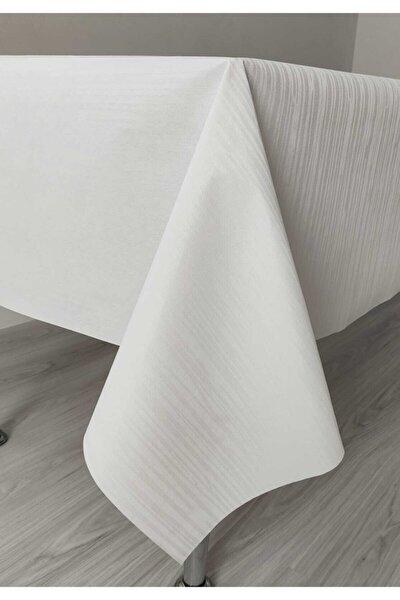 Masa Örtüsü Muşamba Pvc Astarlı Beyaz 110x140