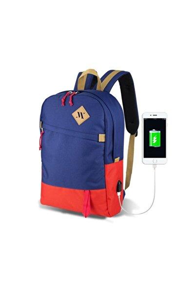 Smart Bag Freedom Usb Şarj Girişli Akıllı Sırt Çantası Lacivert-Kırmızı /