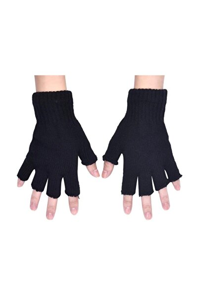 Parmaksız Kesik Yarım Parmak Eldiven Siyah Gri