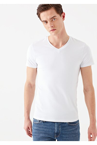 V Yaka Streç Beyaz Basic Tişört