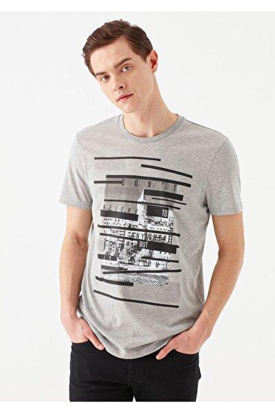 Baskılı Gri İstanbul Tişört