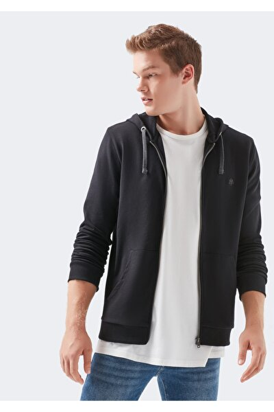 Fermuarlı Siyah Sweatshirt
