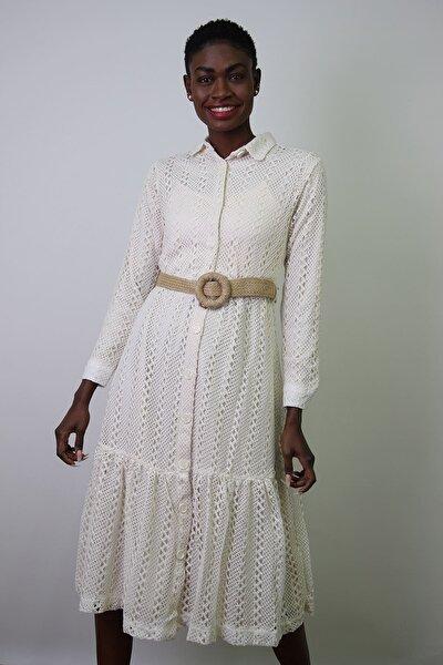 Kadın Krem Beli Tünelli Gömlek Yaka Dantel Elbise Kks21-20K6006