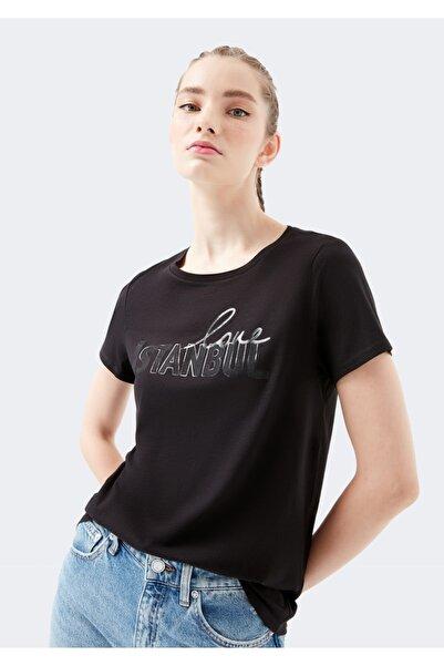 Love İstanbul Baskılı Siyah Tişört
