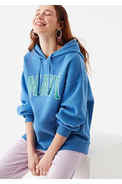 Kadın Mavi Logo Baskılı Sweatshirt