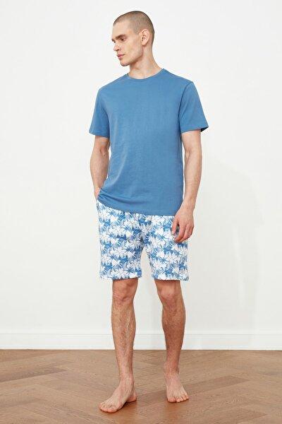Mavi Palmiye Baskılı  Pijama Takımı THMSS21PT0331