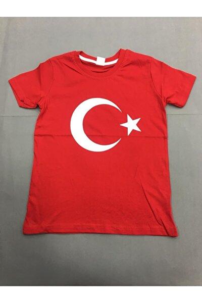 Bayrak Desenli Basklılı Yetişkin T-shirt