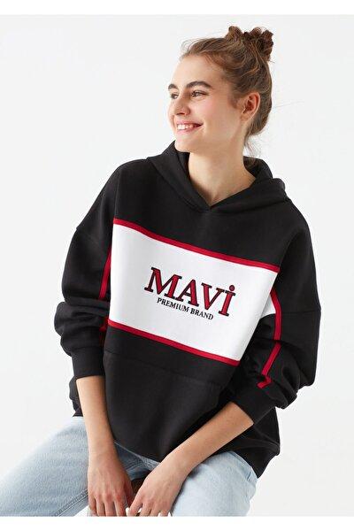 Logo Baskılı Siyah Sweatshirt