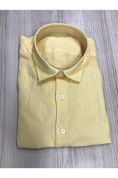 Erkek Sarı Keten Gömlek