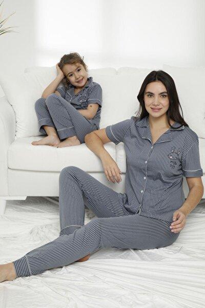 Kadın Gri Çizgili  Düğmeli Pijama Takım