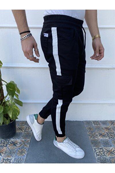 Erkek Siyah Yandan Çizgili Kargo Cep Pantolon