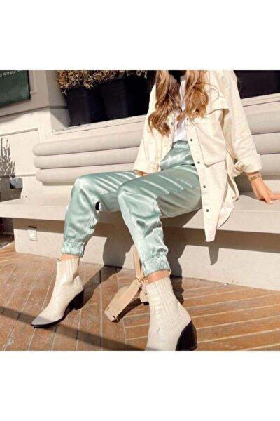 Kadın Mint Yeşili Paçası Lastikli Saten Pantolon