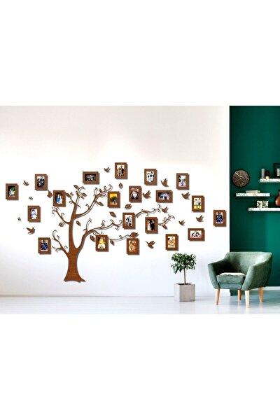Ahşap Soy Ağacı 20 Çerçeveli - Kahverengi