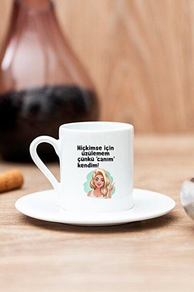 Beyaz Canım Kendim Baskılı Türk Kahvesi Fincanı