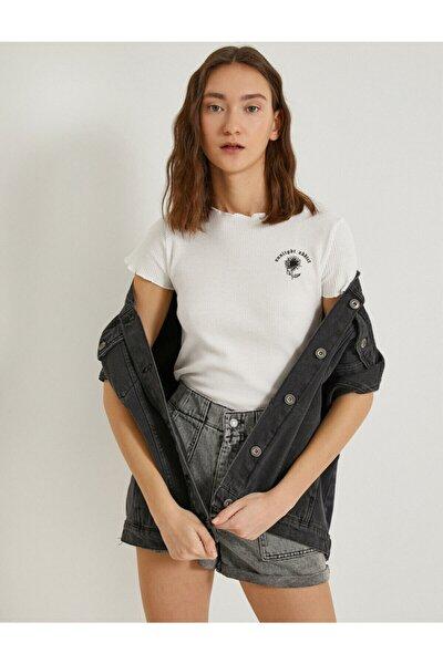 Kadın Ekru Baskılı Kısa Kollu Pamuklu T-Shirt