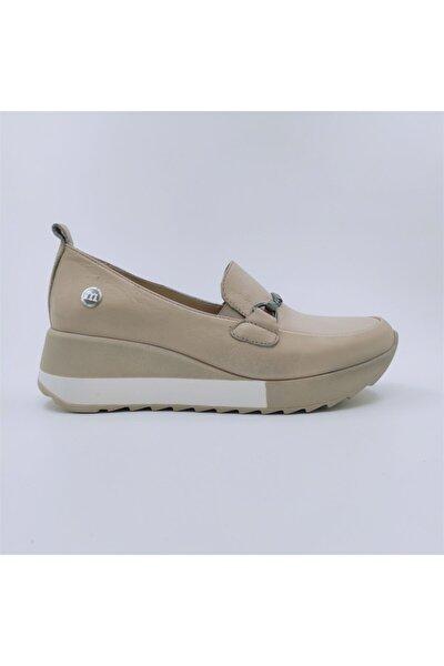 Kadın Bej Hakiki Deri Dolgu Topuklu Ayakkabı D21ya-3215-b