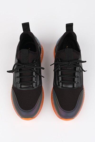 Kadın Siyah Streç Sneaker Spor Ayakkabı