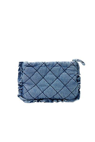 Kadın Mavi Denim Clutch Çanta