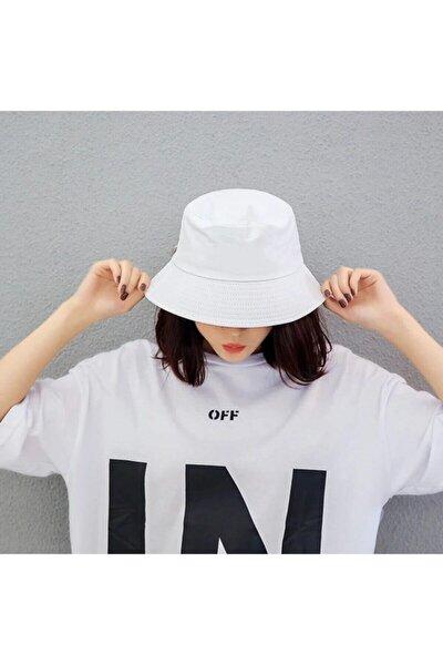 Son Moda Düz Beyaz Kova Şapka Balıkçı Şapka Bucket Hat