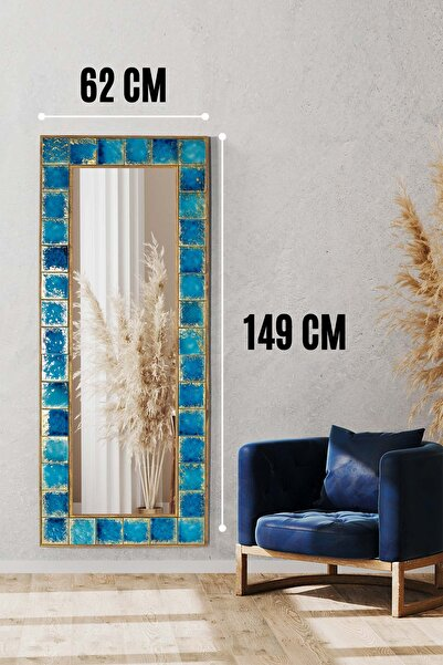 Napoli Doğal Ağaç 62x149 Cm Çerçeveli El Yapımı Çini Seramik Kaplı Salon Duvar Konsol Boy Aynası