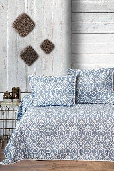 Yatak Örtüsü Takımı Çift Kişilik Jakar Şönil Kumaş Marlin Mavi