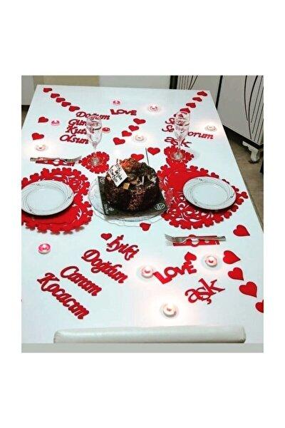 25 Parça Romantik Doğum Günü Masa Süslemesi Kırmızı Keçe Seti 2 Kişilik Keçe Doğum Günü Seti