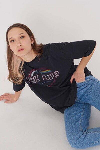 Kadın Antrasit Baskılı T-Shirt P1046 - T11 Adx-0000022782