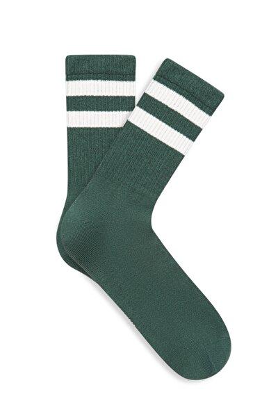 Bileği Çizgili Yeşil Çorap