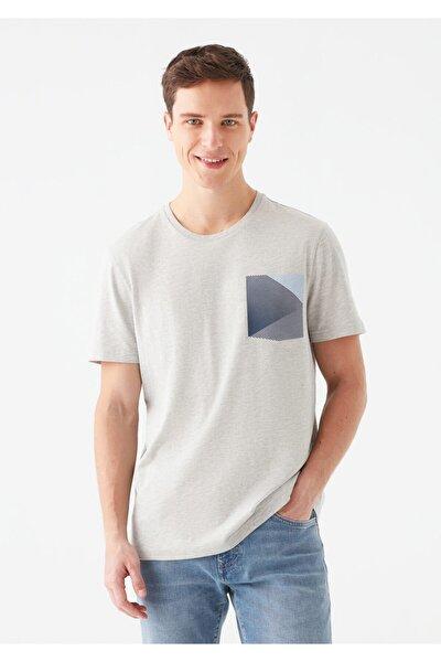 Erkek Gri Cep Baskılı T-Shirt