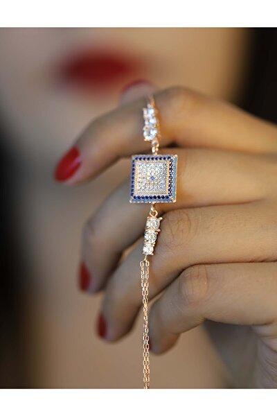 Kadın 925 Ayar Gümüş Nazar Model Zirkon Taşlı Bileklik