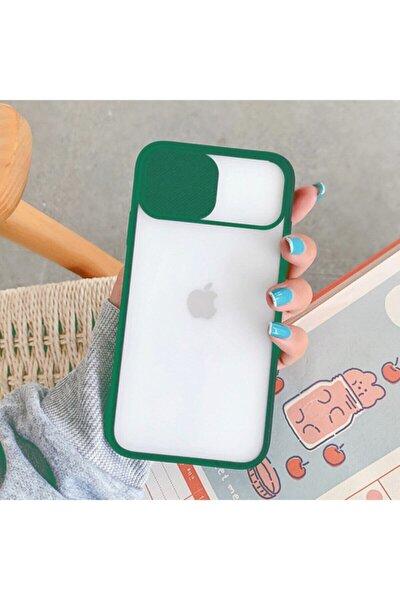 Koyu Yeşil Iphone 8 Plus Kamera Kapatan Koruyucu Sürgülü Kılıf