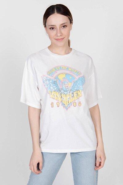 Kadın Ekru Baskılı T-Shirt P0929 - K2 Adx-0000022213