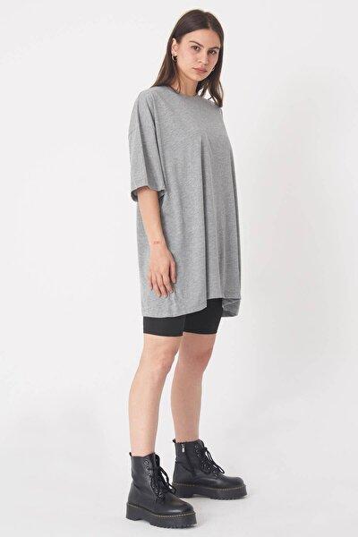 Kadın Gri Melanj Oversize T-Shirt P0731 - G6K7 Adx-0000020596
