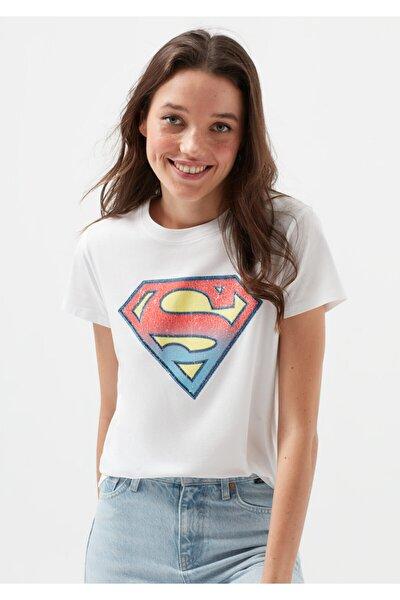 Kadın Lisanslı Superman Baskılı Beyaz Tişört 168885-620