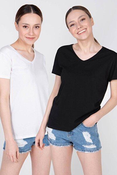 Kadın Siyah Beyaz Ikili V Yaka Basic T-Shirt P0372 - U9U10 Adx-0000022264