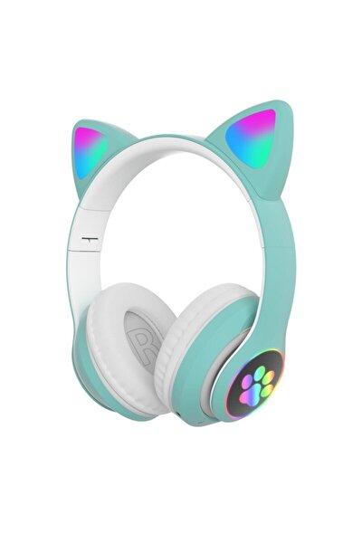 Kablosuz Bluetooth 5.0 Led Işıklı Sevimli Kedili Şık Tasarım Kulaklık Yeşil Renk
