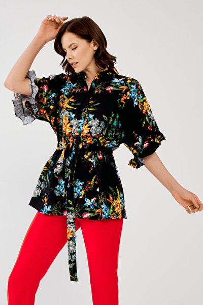 Kadın Siyah Belden Bağlamalı Desenli Tunik