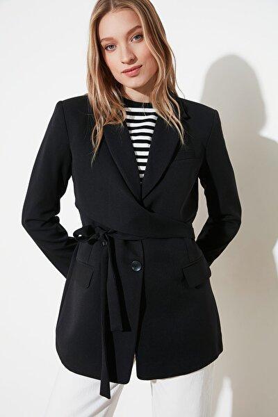 Siyah Bağlamalı Blazer Ceket TWOAW21CE0320